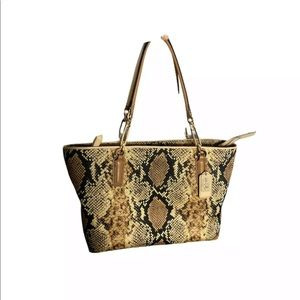 Coach Madison Python Fabric East West Tote Bag